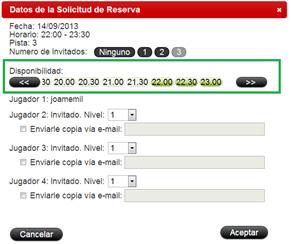 Datos de solicitud de reserva de pista de un usuario registrado